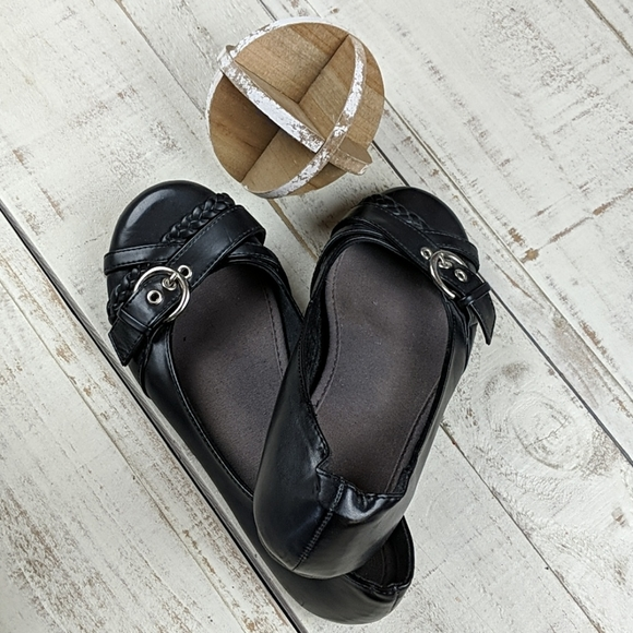 BOGO SO flats with silver buckle.